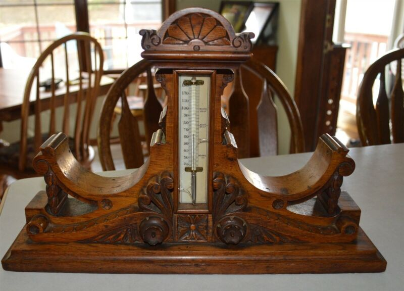 1900 Era Very Fancy Carved Desk top Fancy Carved Thermometer