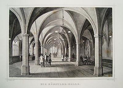 Bremen Die Künstler-Halle echter alter Stahlstich 1850