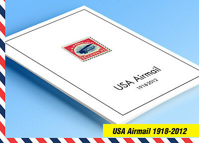 COLOR PRINTED U.S.A. AIRMAIL 1918-2012 STAMP ALBUM PAGES (17 illustrated (Printed Stamp)
