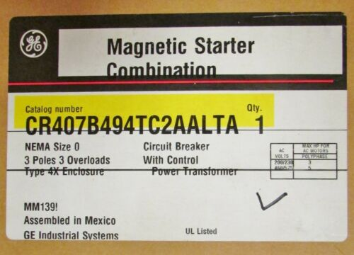GENERAL ELECTRIC GE CR407B494TC2AALTA Size 0 Nema 4X Combination Motor Starter