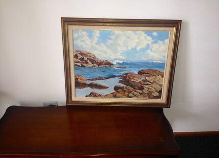 ROSSINI ORIGINAL OIL PAINTING - Italian Village and Seascape   Art ...