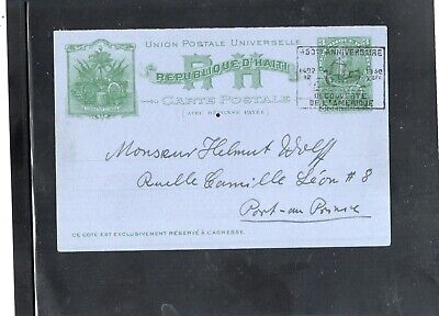 Haiti  - postal card P6-  used - half only