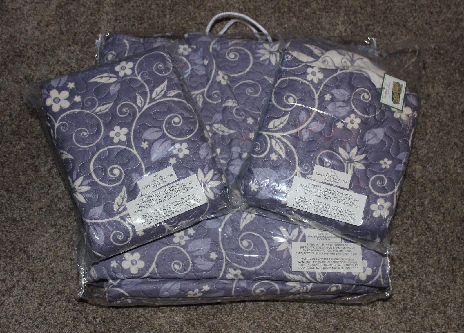New 3 Piece Lavender & White Reversible Floral 86 x 86 quilt