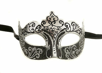 Mask from Venice Colombine Silver and Black Authentic Carnival Venetian 255