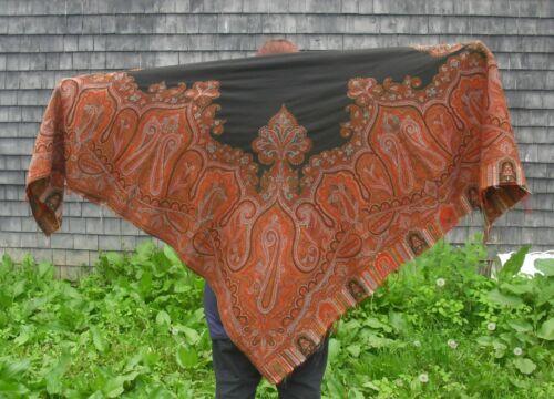 """Antique Vintage Kashmir Paisley Wool Shawl Black Center Multi Color 70"""" x 69"""""""