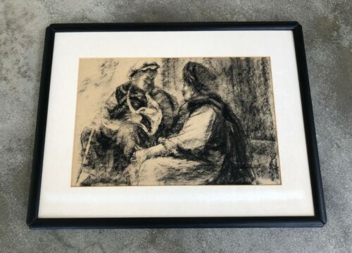 VINTAGE CHINESE ORIGINAL CHARCOAL PAINTING FIGURES ON PAPER. SIGNED.