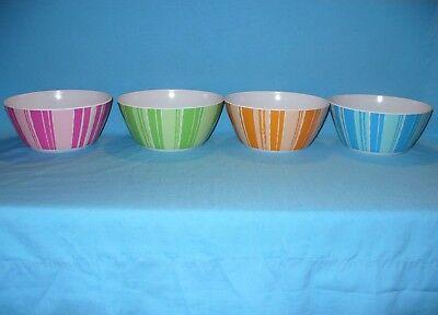 "4 New 7 7/8"" Festive Melamine Plastic Round Pink Blue Green Orange Serving Bowls"