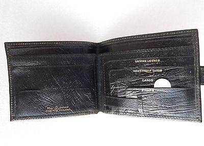 Vintage grained real leather wallet Usable OK but a bit tatty 1970s 1980s black