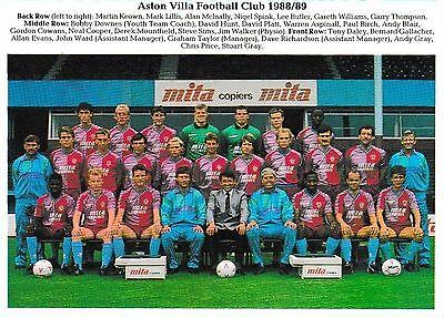 ASTON VILLA FOOTBALL TEAM PHOTO 1988-89 SEASON