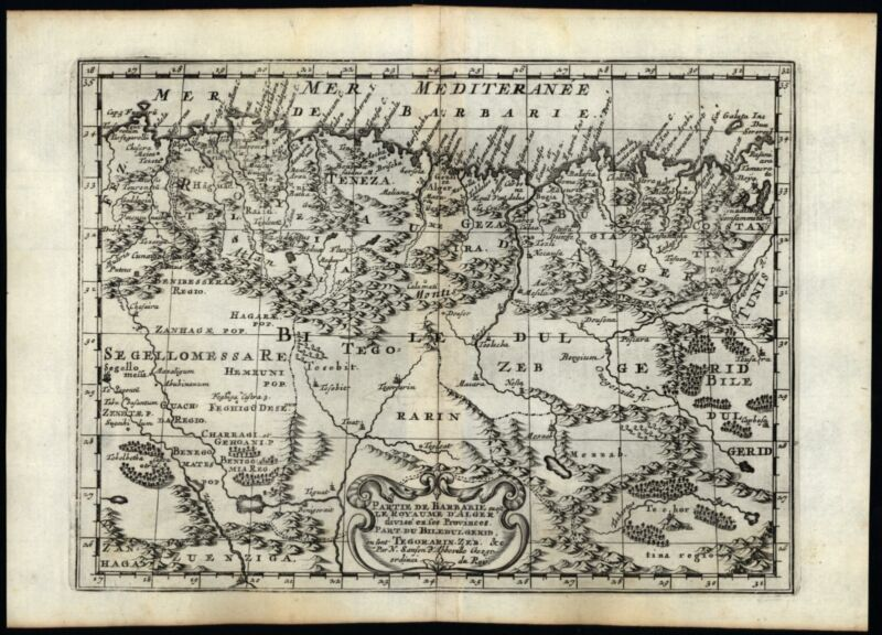 Barbary Coast North Africa Tunisi Bildulgerid 1699 Sanson delightful map