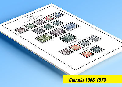 COLOR PRINTED CANADA 1953-1973 STAMP ALBUM PAGES (32 illustrated (Printed Stamp)