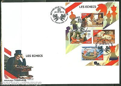 TOGO 2014 CHESS  SHEET FIRST DAY COVER
