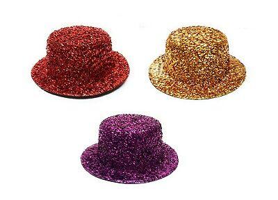 Minihut 13cm Glitzer Mini Hut Hütchen Zylinderhut für Karneval Fasching - Mini Zylinder Kostüm