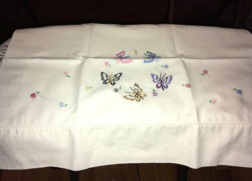 Vintage Antique White Pillowcase Multi-Color Butterfly Embroidery Cotton Blend