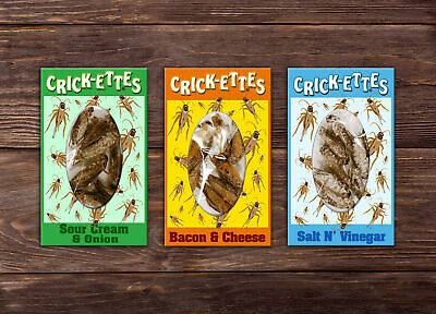 Crick-ettes Real Edible Insects 3 PACK Sampler Novelty Gift Set ()