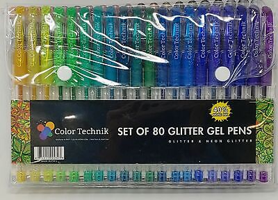 Glitter Gel Pen by Color Technik-Set of 80 Glitter and Neon Glitter Neon Gel Pen