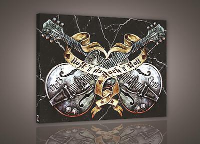 LEINWAND BILD WANDBILD BILDER (PP474O4) Rock & Roll Gitarre Musik 60x40cm ()