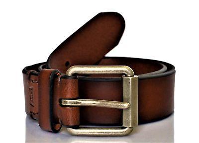 Levi's Men's Beveled Roller Buckle Leather Belt Brown