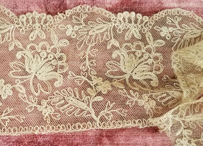 "Antique French Tambour Lace Trim Edging Floral 4.25"" Wide X 21"""