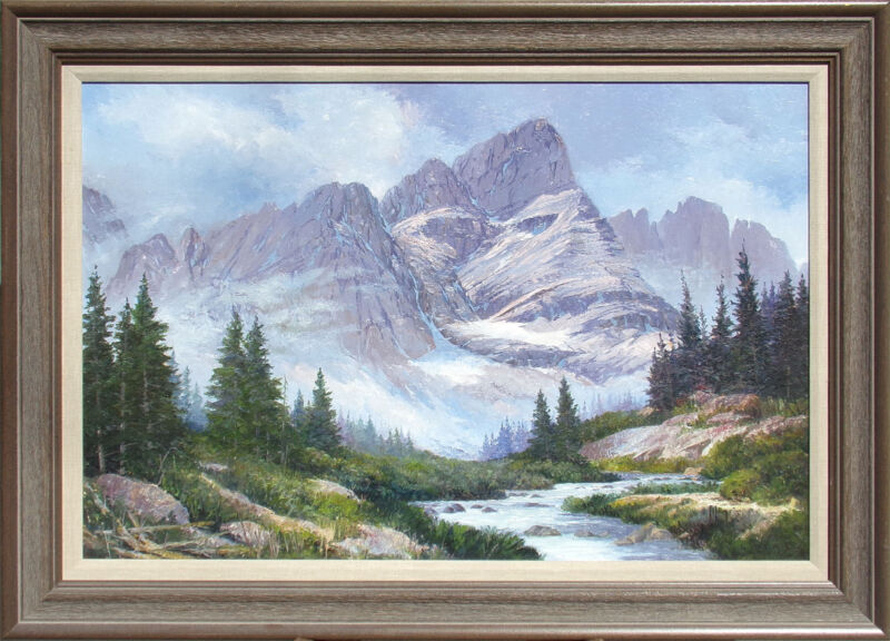 Robert Wogrin Crestone Needle Mountain Hand Signed Original Oil Painting 1990
