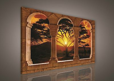 100x75cm LARGE PRINT CANVAS WALL ART PICTURE African Sunset Landscape Unframed