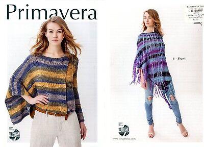 Lana Grossa Primavera Knitting & Crochet Pattern Leaflet Tops Poncho Shawl Easy!