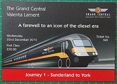 Grand Central HST Valenta Lament ticket 2010 FIRST, trip 1 Sunderland to York