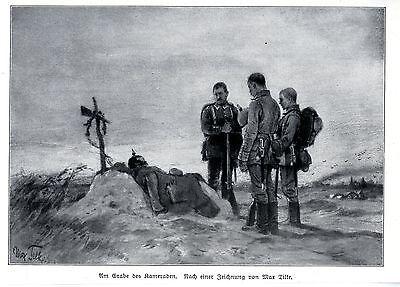 1914 * Am Grabe eines Kameraden * antique print