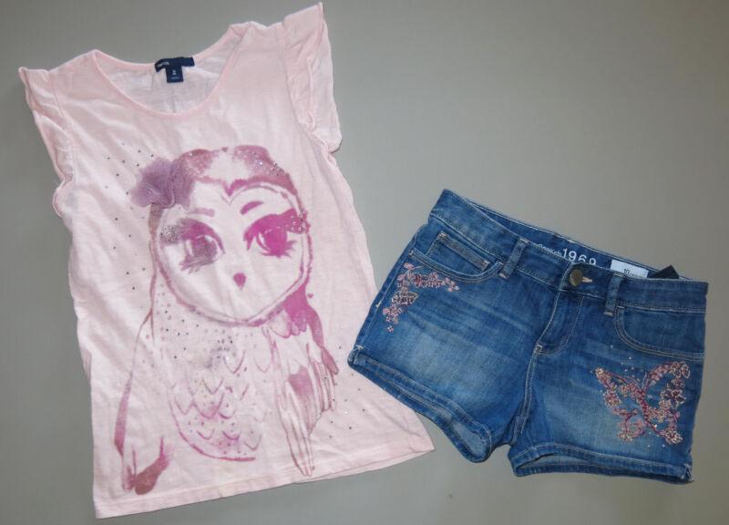 Gap girl Butterfly Glam Canyon Southwest denim shorts pink top shirt Owl 10 8 M