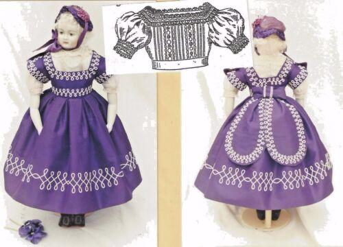 "17-18""ANTIQUE FRENCH FASHION ROHMER/HURET LADY DOLL@1865 DRESS BONNET PATTERN"