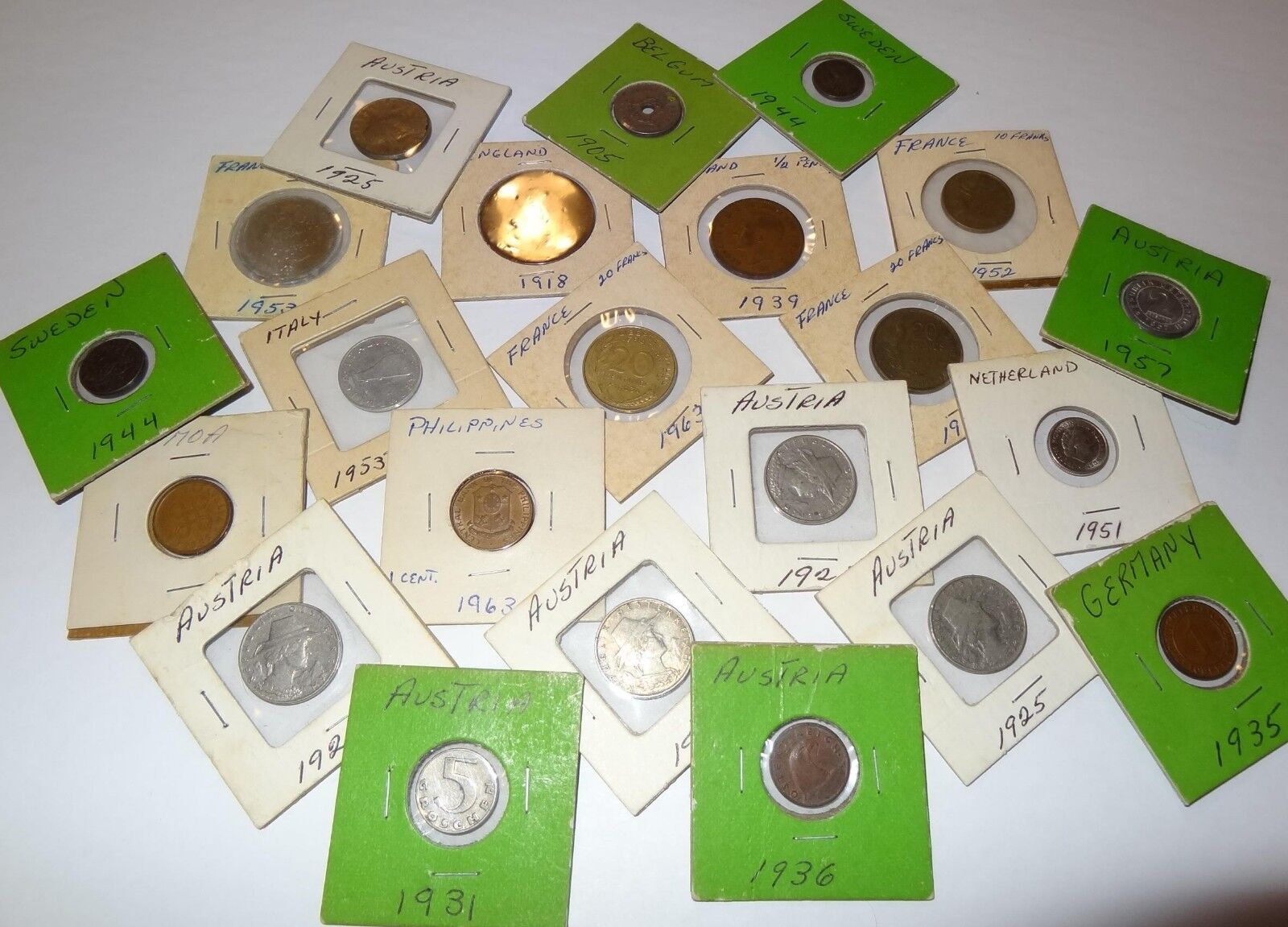 FOREIGN COIN COLLECTION, 22 VINTAGE WORLD COINS, EUROPE, PACIFIC, ANTIQUE MONEY