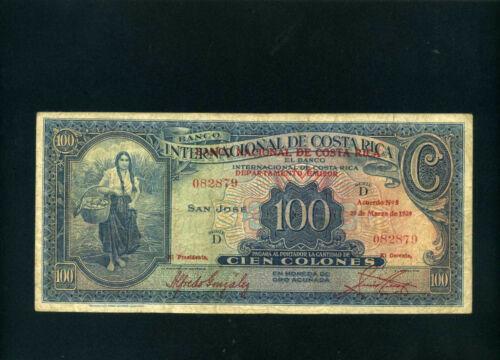 Costa Rica Banco Internacional o/p Nacional 100 colones 1939 P194 - F