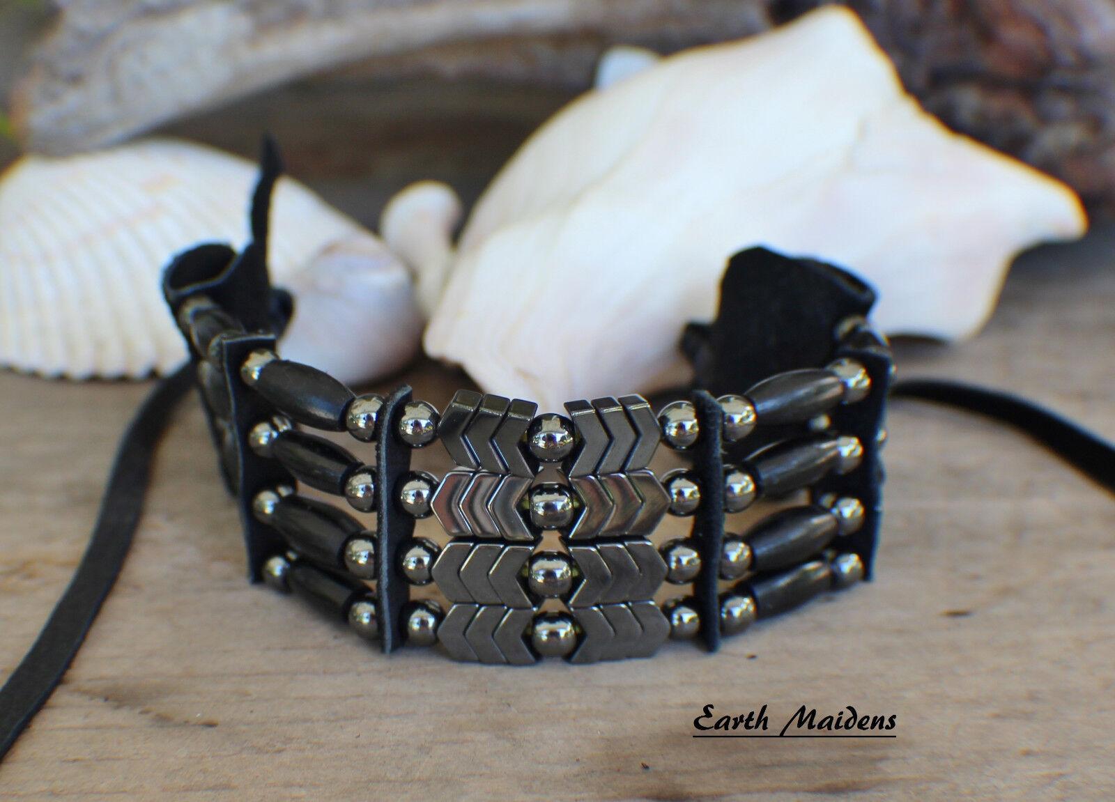 Native American Bracelet w/ Black Horn, Hematite Cherokee ma