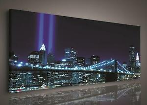 CANVAS PRINT PHOTO PICTURE (PP179O3) 145x45cm New York Brooklyn Bridge City