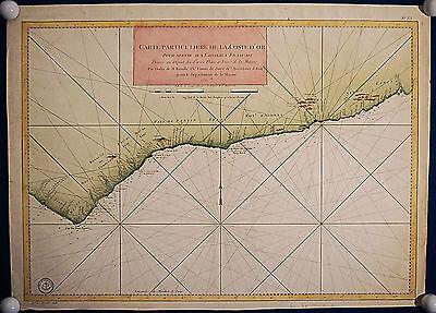 GOLDKÜSTE GHANA grosse Landkarte der Küste 1750 schönes Original!