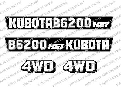 Kubota B6200 Hst Compact Tractor Bonnet Decal Sticker Set
