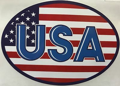 Oval Usa Flag (USA American Flag Gloss Oval Vinyl Bumper Sticker 3.5