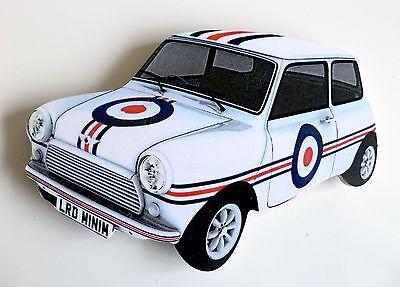Mini Car Fridge Magnet, 60s Mod Target Mini Car Fridge Magnet, Classic Mini Car
