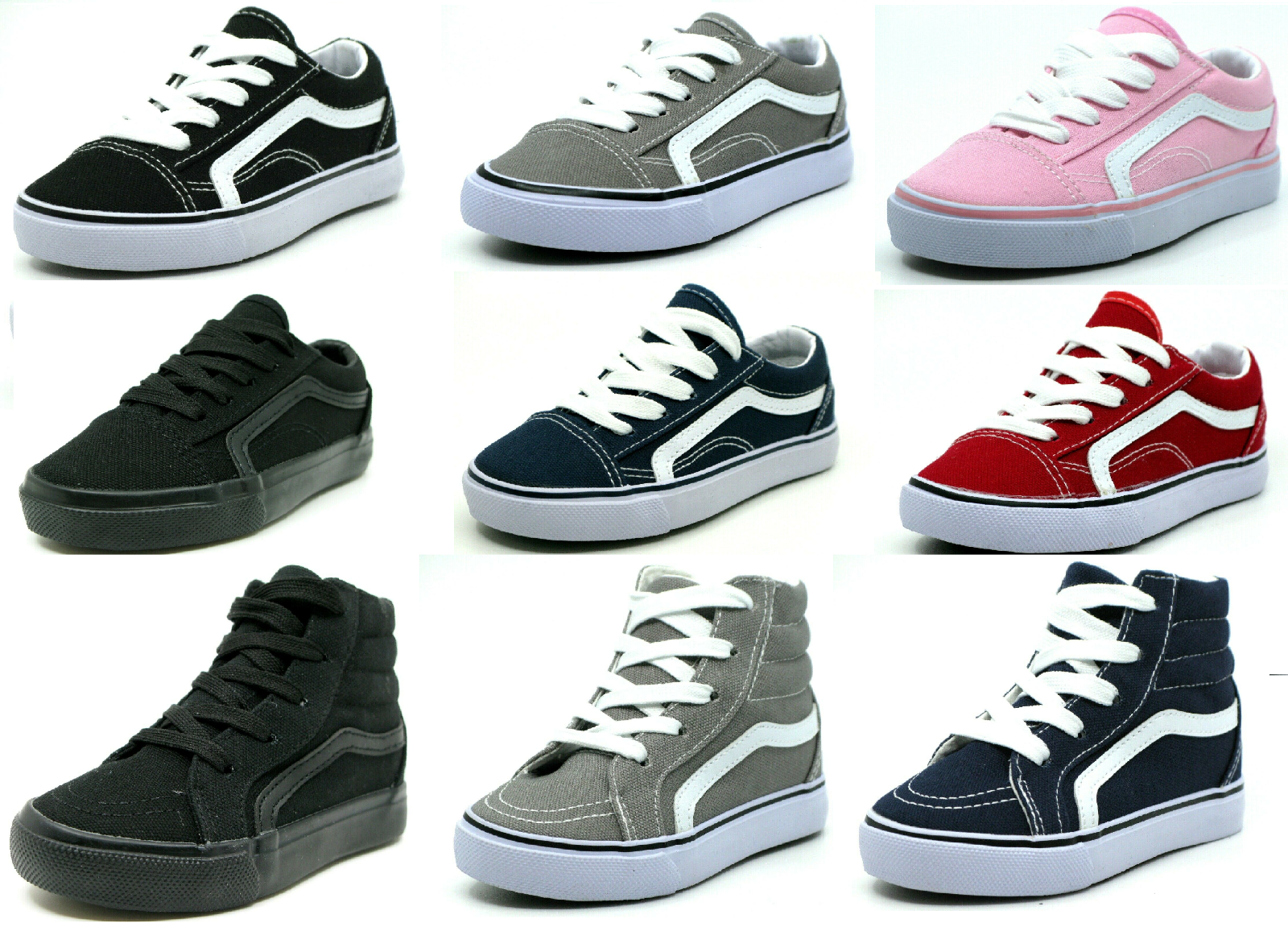 New Lace Up Low Top And Hi Top Baby Toddler Boy Or Girl Canv