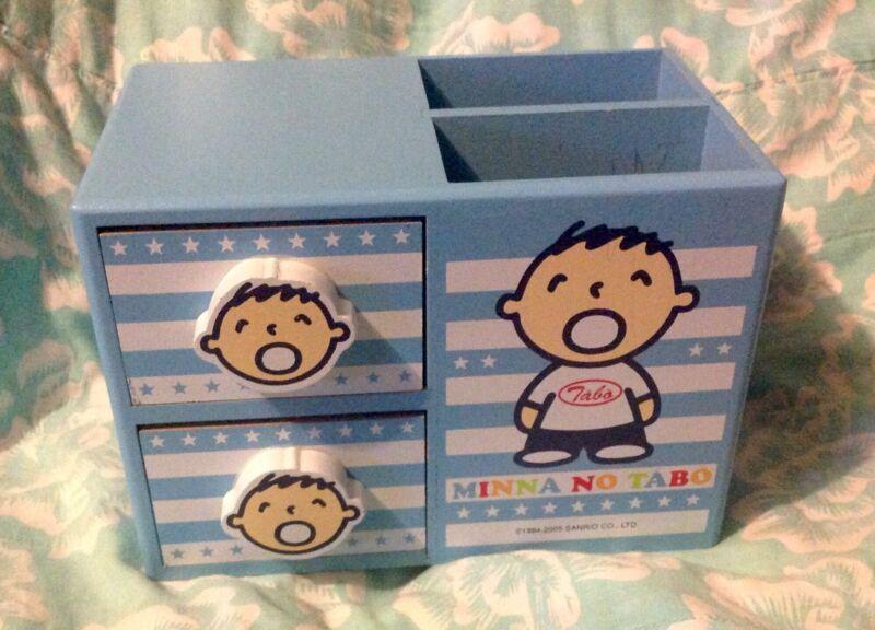Minna No Tabo Sanrio Wooden Storage Pencil Accessory Stationary Drawer Box *RARE