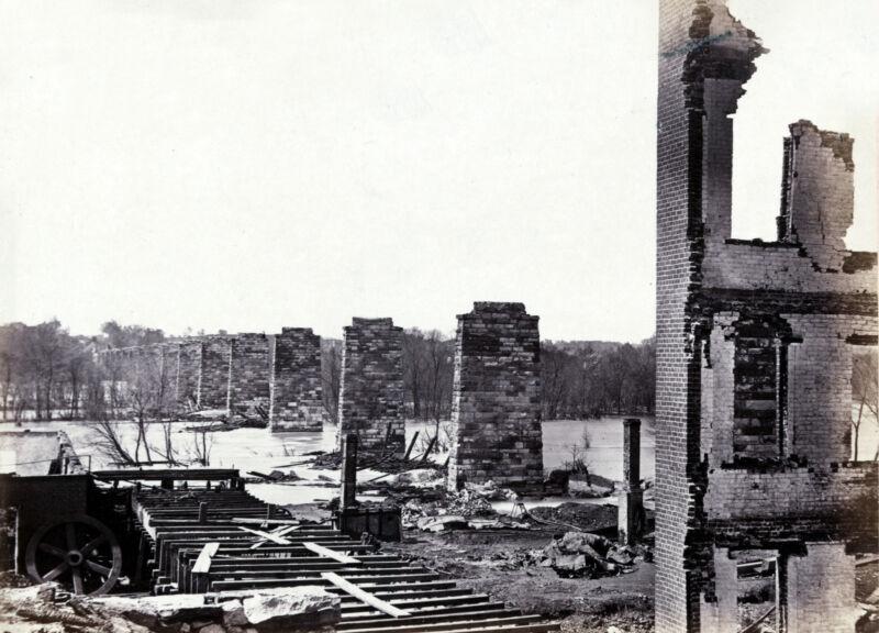 Civil War Ruins Petersburg & Richmond Railroad Bridge James River Photo