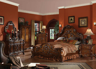 Old World Style Brown Finish Bedroom Furniture - 5pcs King Mansion Bed Set IAAD