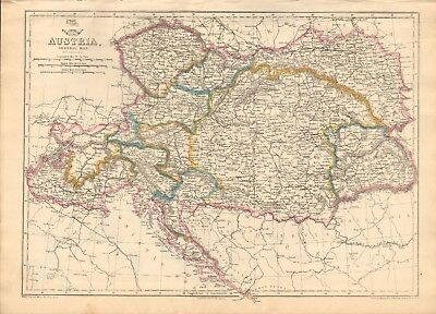 1863  LARGE ANTIQUE MAP - DISPATCH ATLAS- AUSTRIA