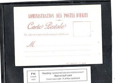 Haiti  - formula card F14-  unused
