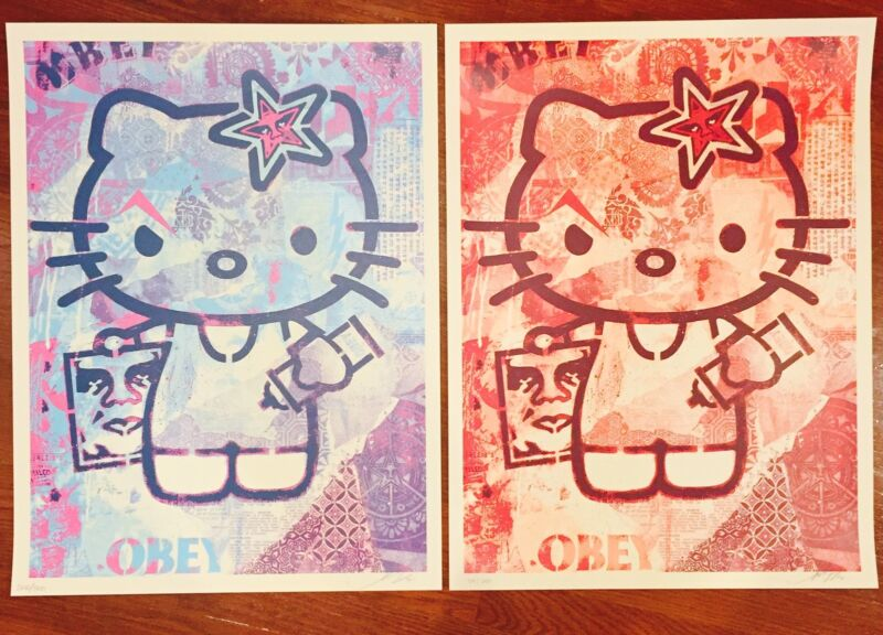 "Hello Kitty Print Set (2) Shepard Fairey Art -limited 18x24"" Obey We The People"