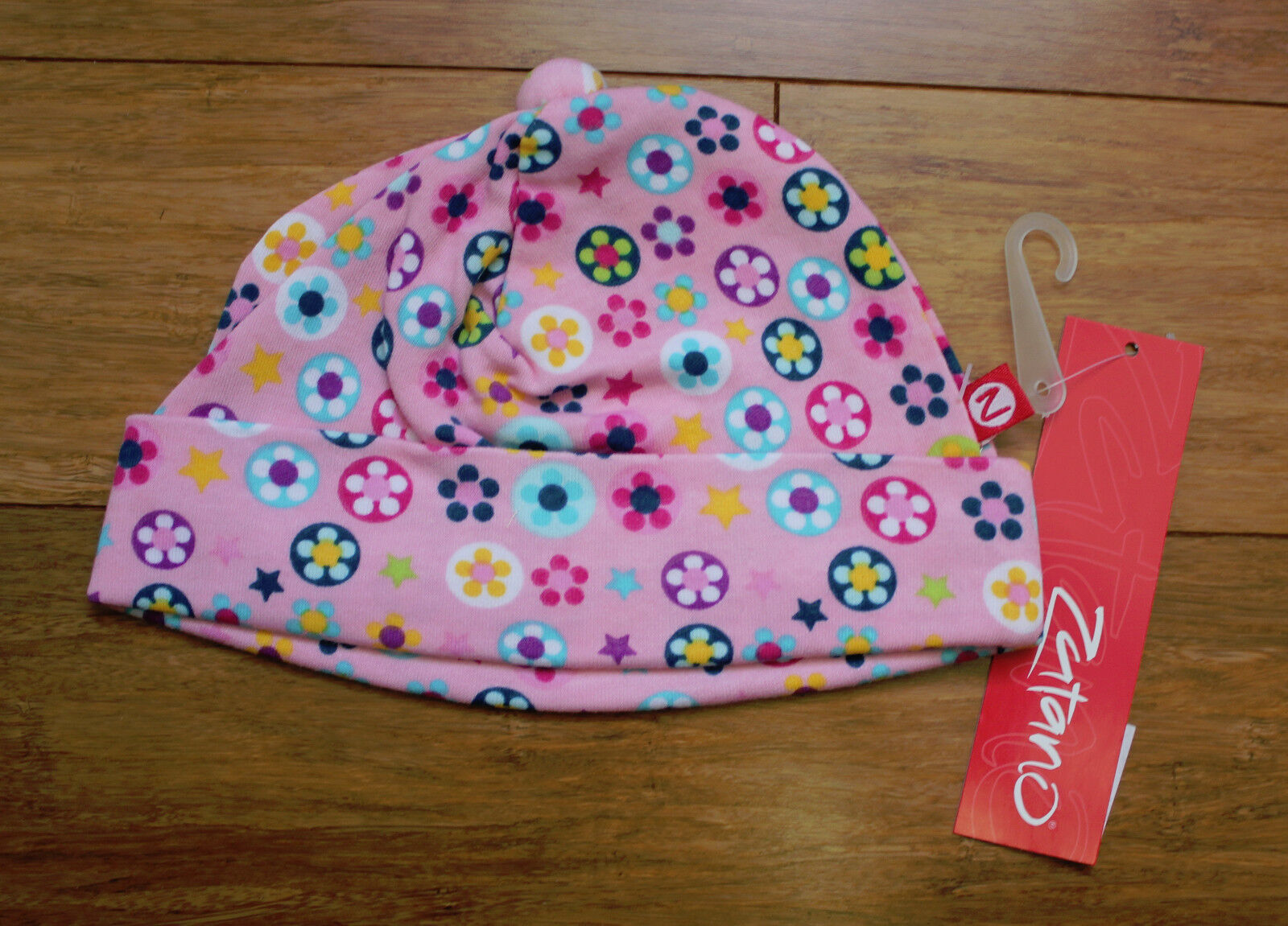 Zutano baby girl 100 % cotton hat Flower Shower pink 12 mont