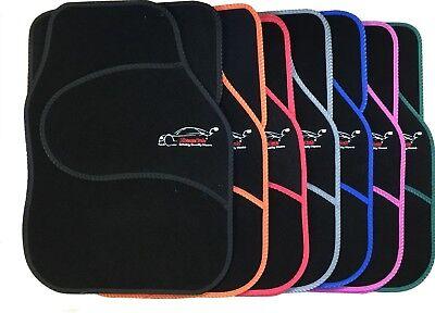 Full Black Carpet Floor Car Mats with Coloured Border For Innocenti Mini Regent