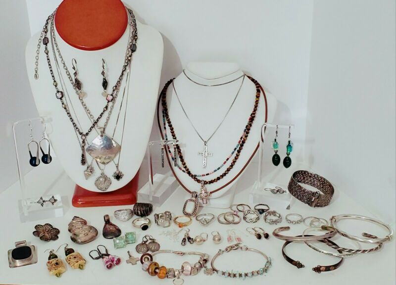 Sterling Silver 925 Jewelry Lot Necklaces, Bracelet, Earrings, Rings, 378 grams.