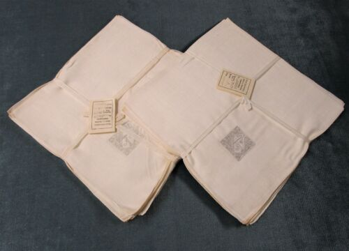 Antique 8 + 1 Linen Napkins K Monograms PORTUGAL Madeira Hand Rolled Hems Unused
