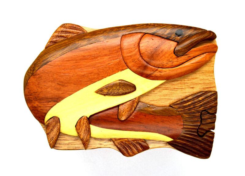 Steel Head Fish Carved Wood wooden keepsake intarsia Puzzle Jewelry box new